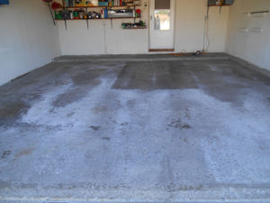 garage floor before epoxy coating